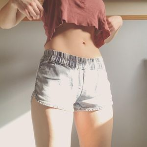 Cinched Waist Jean Shorts